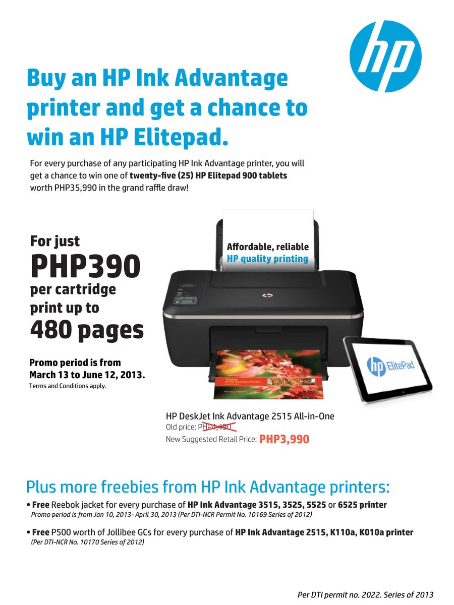 Get a chance to win HP's newest and most sophisticated tablet, the ElitePad 900, by simply buying one of the participating HP Ink Advantage printers from March 13 to June 30, 2013.