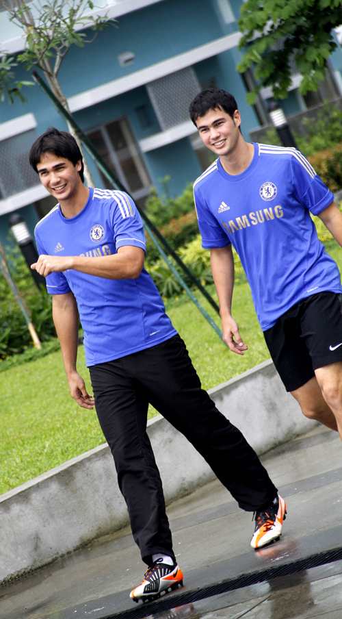 BROTHERS AND PHILIPPINE National Football Team stars James and Phil Younghusband take a break from a game at the  7-Aside Football Field in Tribeca Private Residences in Sucat, Muntinlupa. The football field will be the site of the 1st Tribeca Football Festival to be held on April 21st, 2013. Leisure estate developer Landco Pacific Corporation is organizing the event as a joint venture with ATR KimEng Securities,Inc., in cooperation with the Younghusbands.  Sponsors of the 1st Tribeca Football Fest include Meralco, MVP Sports Foundation, Smart, and PLDT-SME.