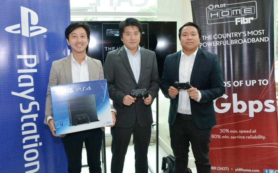 PLDT Home Fibr and Sony Playstation team up to bring the ultimate gaming experience at home. In photo during the launch are (from left): Sony Playstation Singapore Head of Product Marketing Arata Naito, Sony Philippines President and Managing Director Nobuyoshi Otake and PLDT VP and Home Marketing Director Gary Dujali.