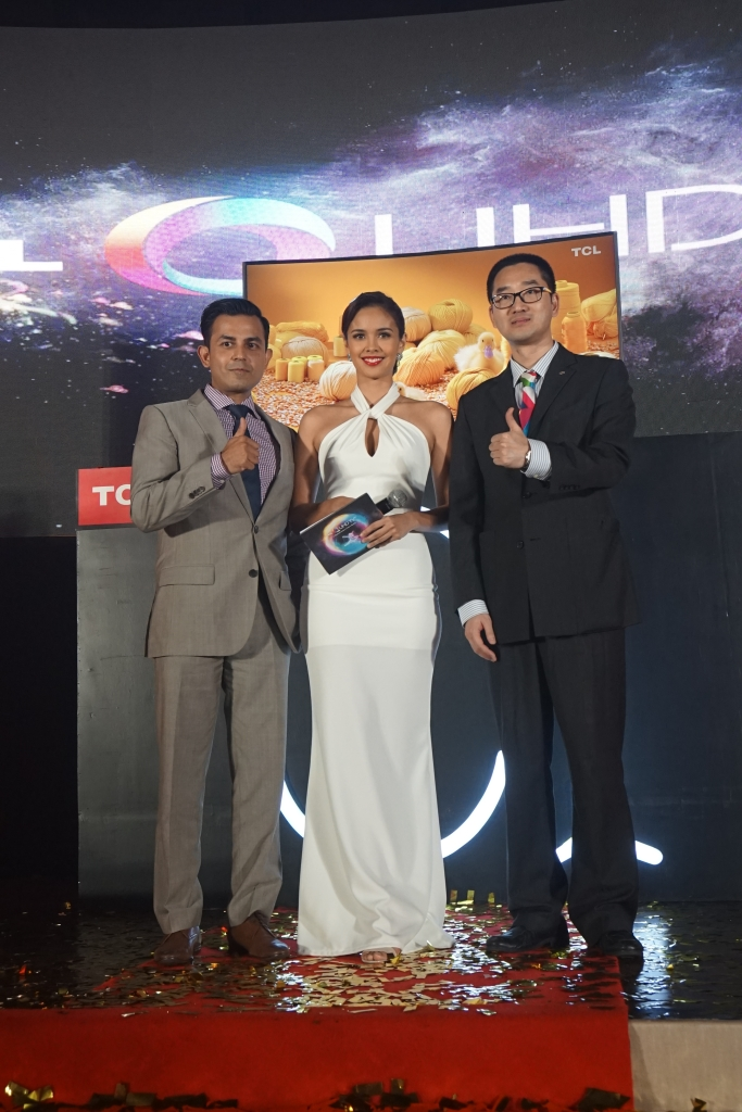 Mr. Ranjit Gopi, TCL OBC Marketing Director, Mr. Eason Cai, TCL Philippines CEO and Megan Young