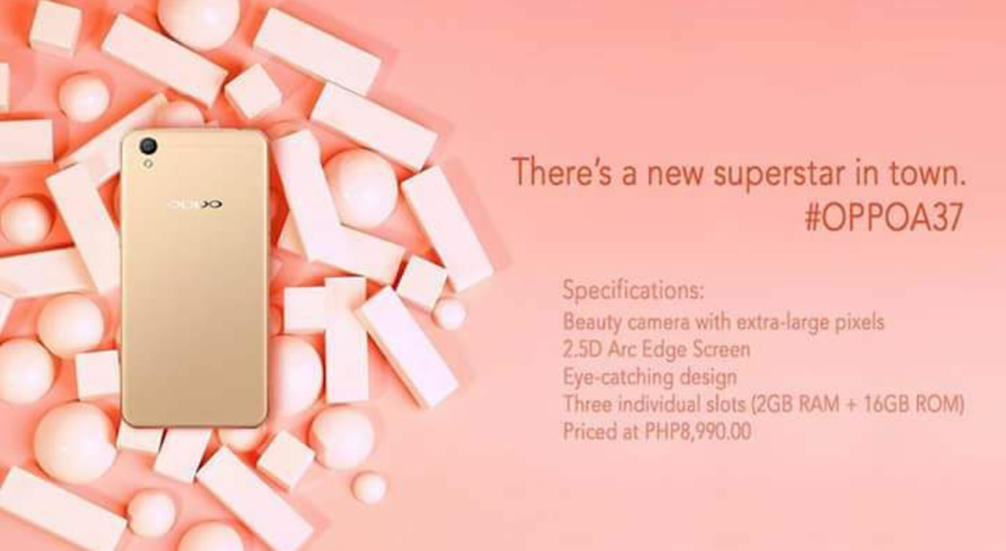 Oppo A37 Available In Ph Starting July 1 Social Press New 4g 5 Inch Ram 2gb Rom 16gb 25d Corning Gorilla Glass 4 Display With A Pre Applied Protective Screen Coating The A37s Follows Same Design Philosophy As Body