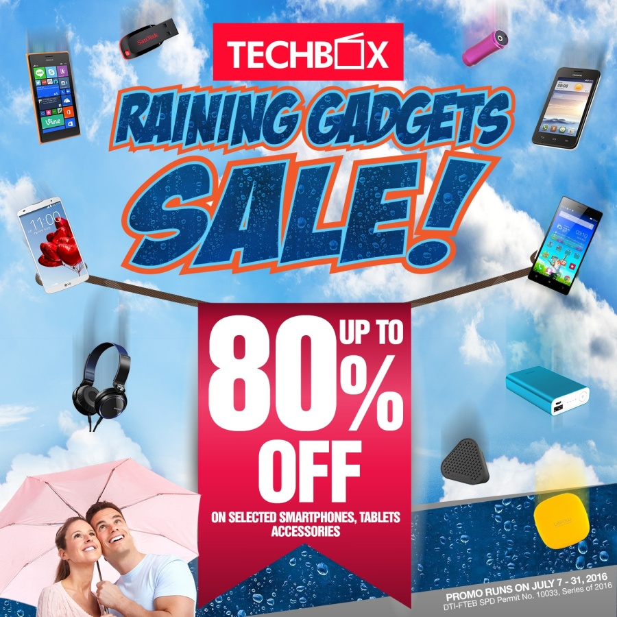 Enjoy up to 80% markdowns on selected smartphones and digital accessories when you shop at TechBox  stores and kiosks until July 31, 2016