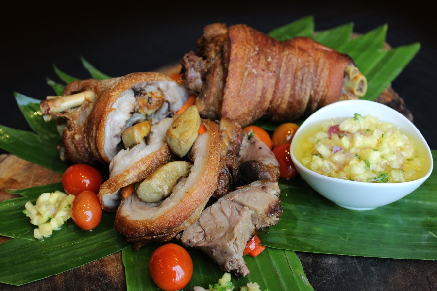 MNL Main dish - Boneless Crispy Pata Stuffed with Foie Gras and  Topped with Pineapple Salsa