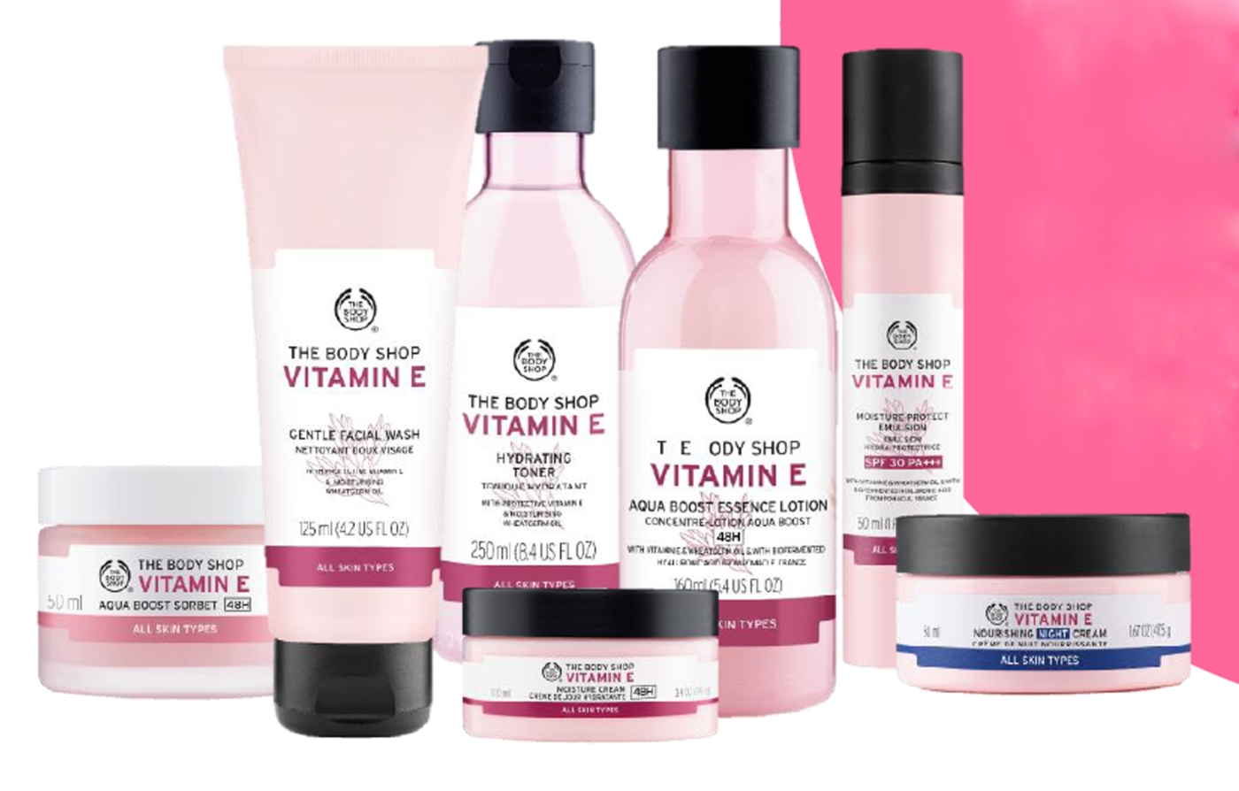 The Body Shop's new Vitamin E skincare range is now boosted by 100% natural origin hyaluronic acid. The collection includes: Vitamin E Nourishing Night Cream, Intense Moisture Cream, Aqua Sorbet, Gentle Facial Wash, Hydrating Toner, Cream Cleanser, Moisture-Protect Lip Care, Face Mist, Gentle Cleansing Facial Wipes, Overnight Serum-In-Oil, Refreshing Eyes Cube, E Eye Cream, and the new addition Vitamin E Moisture-Protect Emulsion SPF 30 PA+++.