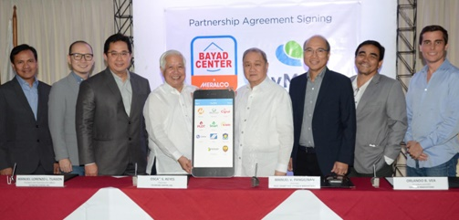 L-R: Pit Quevedo, Senior Vice President & COO, Bayad Center; Lawrence Ferrer, Vice President, PayMaya Philippines; Manny Tuason, President and CEO, Bayad Center; Oscar Reyes, Chairman of Bayad Center; Manny Pangilinan, Chairman of Voyager Innovations; Orlando Vea, President and CEO, Voyager Innovations; Benjie Fernandez, co-COO of PayMaya Philippines and COO, Voyager Innovations; Paolo Azzola, co-COO and Managing Director, PayMaya Philippines.
