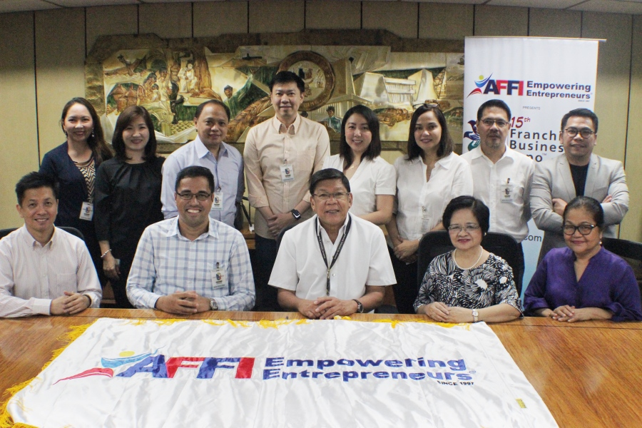 AFFI Board of Directors in a courtesy meeting with BIR Commissioner Caesar Dulay. (From Standing L-R:  Anne Francisco, Ferino's Bibingka, Josephine See, Peanut World, Sonny Francisco, Ferino's Bibingka, John & Jelyn Chung, Acquasuisse, Jean & Atty. Agaton Uvero, Nail It! , Mon Abrea CSR Philippines, Sitting L-R:   Ricardo Cuna, Fiorgelato, Jerry Ilao Ink all-you-can, Teresita Ngan Tian Lots'a Pizza, Teresa Laurel, Gotoking)