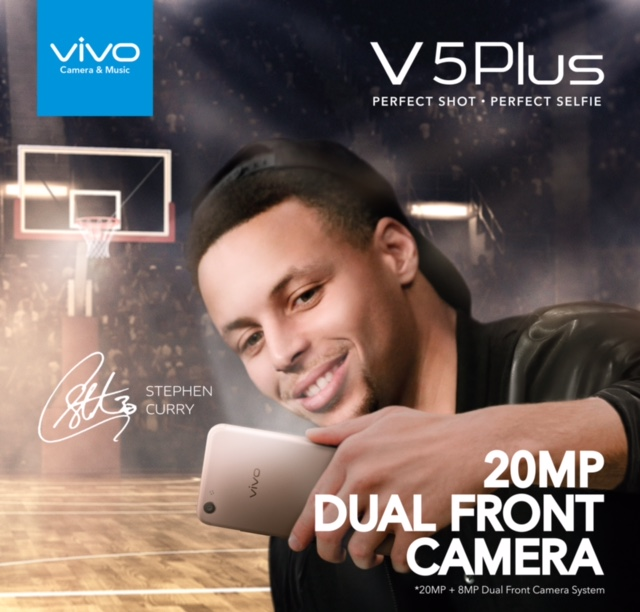 Two-time MVP and Golden State Warriors point guard Stephen Curry is the face of Vivo's newest flagship model, the Vivo V5 Plus.