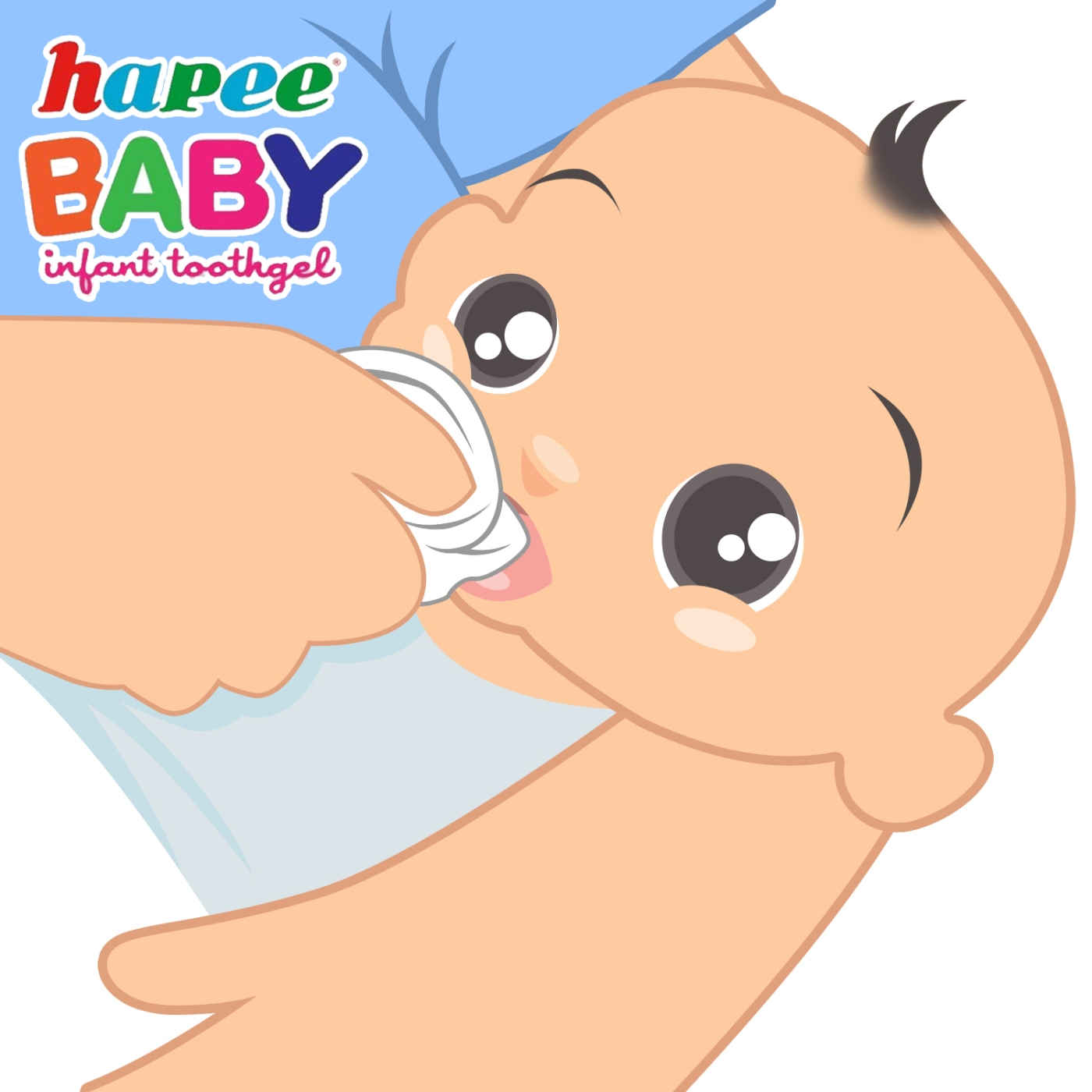 To clean our little one's mouth after feeding, simply apply Hapee Baby Infant Toothgel to the gums using a warm washcloth, a dampened piece of cloth or a finger brush.