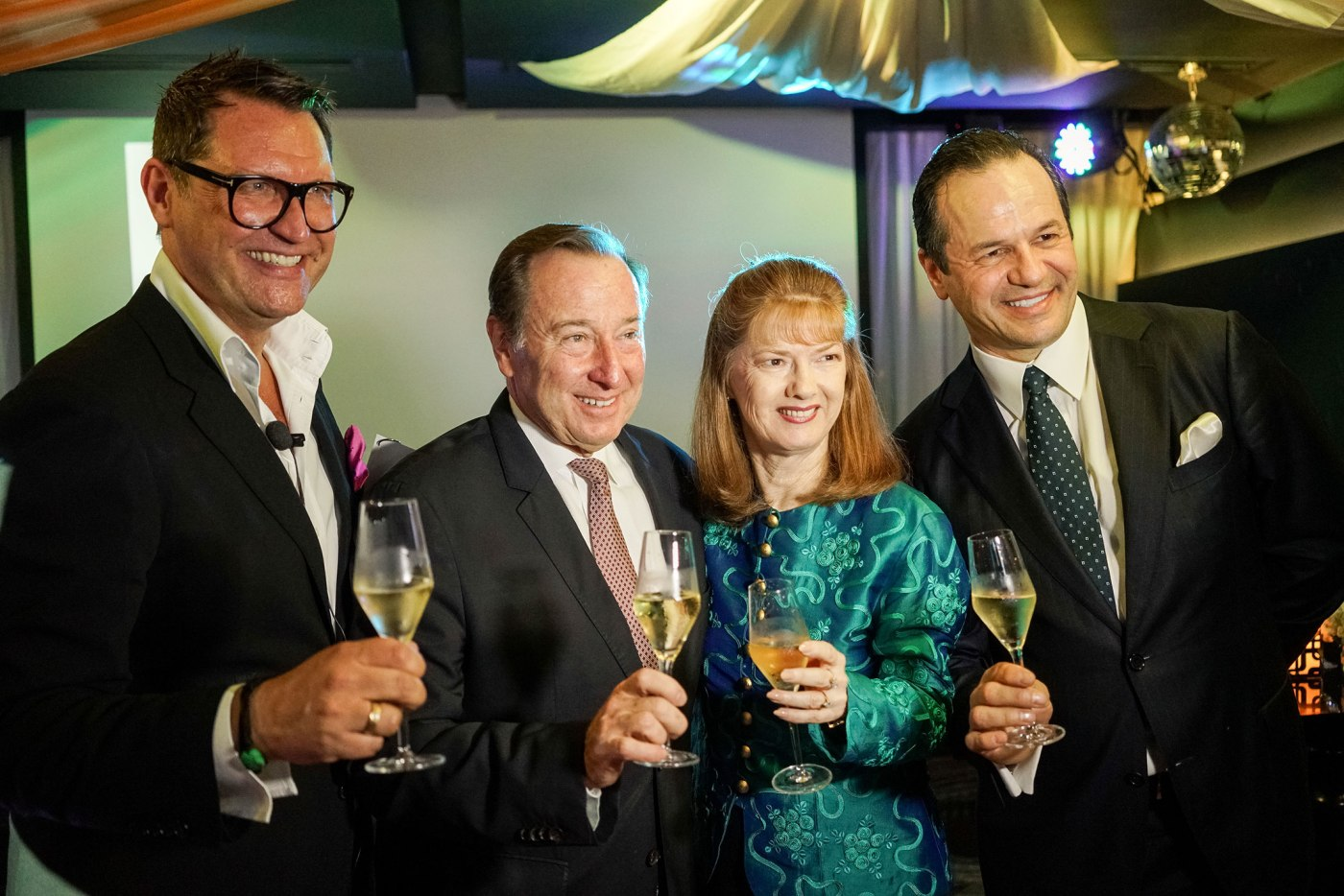 Marco Polo and Niccolo Hotels Vice President for Sales and Marketing Philip Schaetz, Frank Reichenbach, Marco Polo and Niccolo Hotels President Dr. Jennifer Cronin, Marco Polo and Niccolo Hotels Vice President for Operations Philippe Caretti, during the toast for the announcement of the Forbes Travel Guide