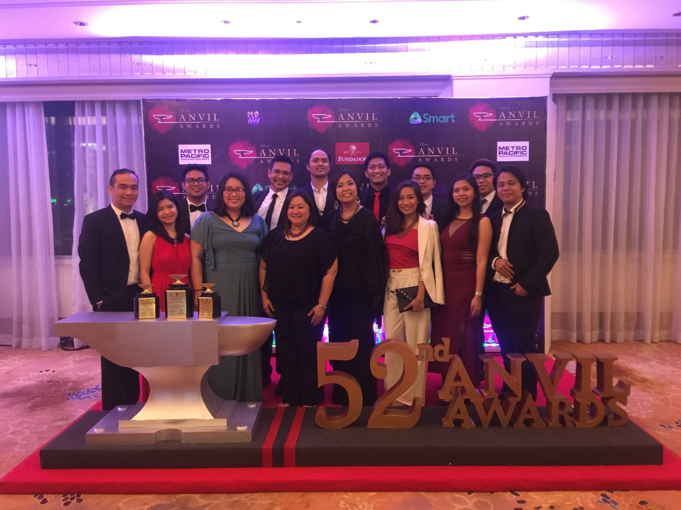 Pru Life UK's Brand and Communications team, led by Assistant Vice President Anna Gizelle V. Camua (front row, fourth from the right), received three honors at the 52nd Anvil Award Gabi ng Parangal at the Makati Shangri-La on March 10, 2017.
